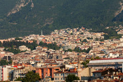 Mosque and many houses in Bursa, Royalty Free Stock Image