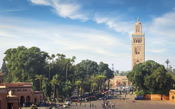 Mosque of the Marrakech. Koutoubia - the largest mosque of the Marrakech at sunny day Royalty Free Stock Photography