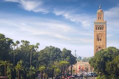 Mosque of the Marrakech. Koutoubia - the largest mosque of the Marrakech at sunny day Stock Images