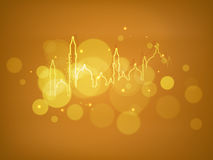 Mosque or Masjid on golden background. Stock Photos