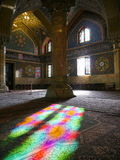 Mosque Masjid in Qom, Iran - Mosque of Imam Hasan al-Askari. Beautiful sunlight with stained-glass patterns of the Mosque of Imam Hasan al-Askari in Qom, Iran royalty free stock photography