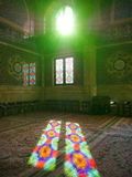 Mosque Masjid in Qom, Iran - Mosque of Imam Hasan al-Askari. Beautiful sunlight with stained-glass patterns of the Mosque of Imam Hasan al-Askari in Qom, Iran stock photos