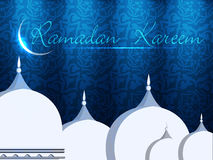 Mosque or Masjid with shiny moon Royalty Free Stock Image