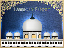 Mosque or Masjid with text Ramadan Kareem. Royalty Free Stock Photos