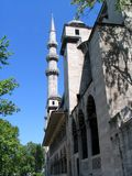 Mosque and minaret. Side view of the Blue Mosque, Istanbul, Turkey Stock Image