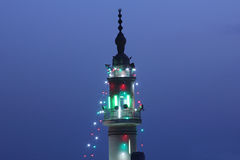 Mosque minaret with lighting in ramadan in cairo in egypt Stock Image