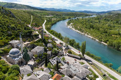 Mosque with Minaret at River Neretva in Pocitelij Stock Images