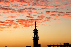 Mosque minaret with sunset in egypt Royalty Free Stock Images
