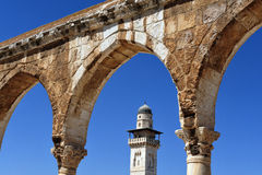 Mosque minaret on Temple Mount Jerusalem Royalty Free Stock Photos