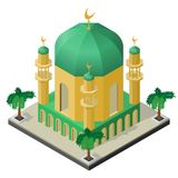 Mosque with minarets and palm trees in isometric view stock illustration