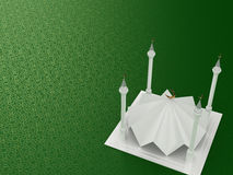 Mosque Minimalist 3D Style. Minimalist 3D Style White Mosque on a colored background with arabesque texture Royalty Free Stock Image