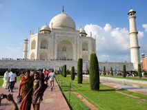 Taj Mahal. Reflections of the world famous Mughal temple of Taj Mahal in the city of Agra in India royalty free stock image