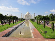 Taj Mahal. Reflections of the world famous Mughal temple of Taj Mahal in the city of Agra in India royalty free stock images