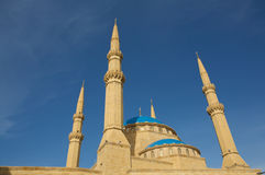 Mosque Mohammad al-Amin (Beirut, Lebanon). Image of Mohammad al-Amin on a blue sky backgound Royalty Free Stock Photography