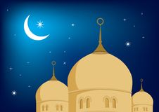 Mosque and moon Royalty Free Stock Photos
