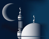 Mosque and moon. Kind of Urban Art Mousge in the night Stock Photo