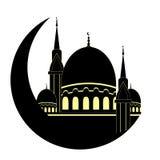 Mosque and Moon for Muslim holy month Ramadan Kareem. Ramadan Mu Royalty Free Stock Images