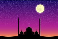 Mosque in moon night Stock Photo