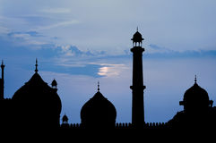 Mosque moonlight Stock Photography