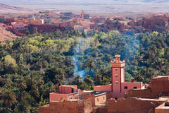 Mosque in Morocco with village and palmtree forest.  stock photos
