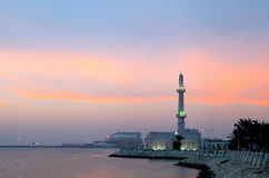 Mosque at Muharraq corniche during dusk , Bahrain Stock Images