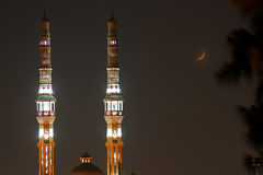 Mosque and new moon Royalty Free Stock Images