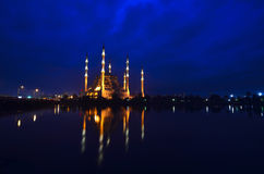 Mosque in night. Mosque in Adana in the evening with river and bridge scene Royalty Free Stock Photo