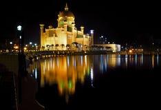 Mosque at night. Sultan Omar Ali Saifuddin Mosque at night, Bandar Seri Begawan, Brunei Stock Photography