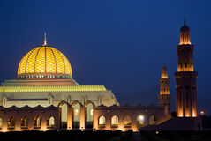 Mosque in night. Grand Mosque In Night, Sultanate Of Oman Royalty Free Stock Images