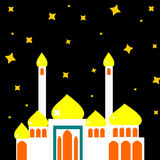 Mosque at Night. The building in the dark time stock illustration