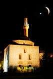 Mosque at night and crescent Stock Images