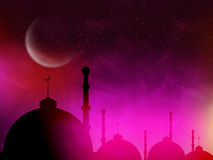 Mosque in night for Islamic Festival celebration. Royalty Free Stock Photography