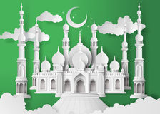 Mosque in the night moon Royalty Free Stock Photo