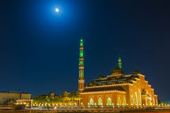 Mosque in night under moonlight. Dubai, United Arab Emirates Stock Photo