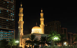 Mosque Night view  in Sharjah, United Arab Emirates Royalty Free Stock Photography
