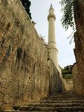 Mosque and the old town Pocitelj Stock Photo