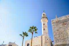 Mosque of Omar, Bethlehem, Palestine. Mosque of Omar on the blue sky background, Bethlehem Stock Images