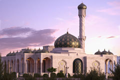 Mosque. With a pink sunset Stock Image