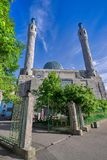 Muslim Mosque with minarets close-up. The mosque is a place of worship, a Muslim prayer religious service with an architectural religious structure with minarets stock images