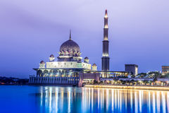 Mosque in Putrajaya, Malaysia. A Mosque in Putrajaya, Malaysia called Putra Mosque. It is built next to a lake stock photo