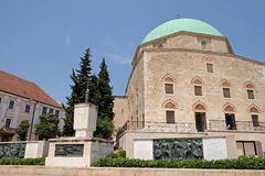 Mosque Qazim with 3 bronze Memorials in Pecs Hungary Royalty Free Stock Photo