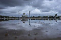 Mosque on a rainy day. Rainy season Royalty Free Stock Photography