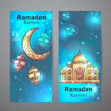 Mosque Ramadan Kareem and crescent moon vertical banners. Colorful design is decorated with Mosque and crescent moon vertical banners on the creative background Royalty Free Stock Image