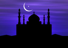 Mosque & Ramadan Moon Royalty Free Stock Images