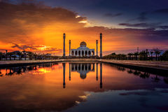 Mosque reflection in water. Mosque reflection in a mirror-like water stock photography