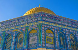 The Mosque's corner. One of the eight corners of the Dome of the Rock, covered with colorful islamic patterns, Jerusalem, Israel Stock Photo