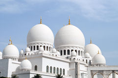 Mosque's domes. Grand mosque in Abu Dhabi Royalty Free Stock Photo