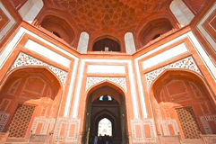 Mosque's facade of the Taj Mahal royalty free stock images
