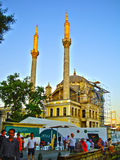 Mosque. At sea side and near suspending bridge with big dome two minarets historical building Stock Photos