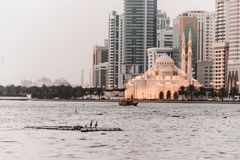 Mosque on Seashore in a Cloudy Day royalty free stock photo